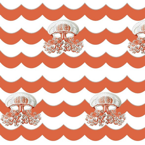Jellyfish on Red Chevron Wave