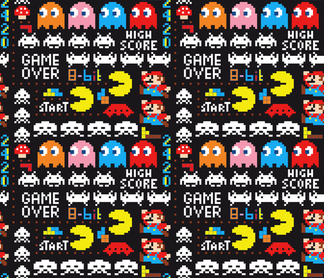 8bit melimelo black fabric by vannina on Spoonflower - custom fabric