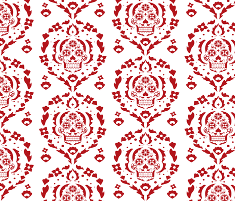 Damask de los Muertos (deep red) fabric by abowersock on Spoonflower - custom fabric