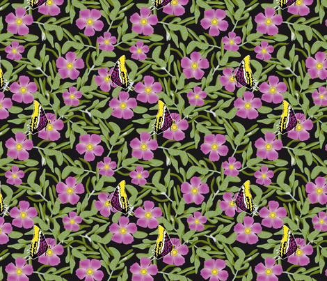 Purple Cistus and Butterflies fabric by vannina on Spoonflower - custom fabric