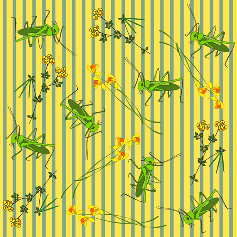 Wildflowers and Crickets on stripes fabric by vanillabeandesigns on Spoonflower - custom fabric