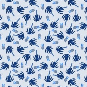 blue palm tree and pineapple