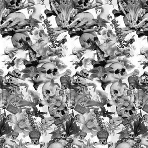 Black&white skull&blooms