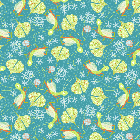 tree crickets with ginkgo and jasmin fabric by cjldesigns on Spoonflower - custom fabric