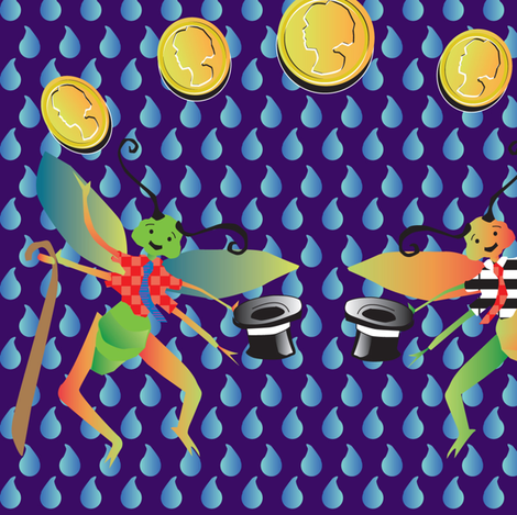 Dancing Lucky Crickets fabric by jbach on Spoonflower - custom fabric