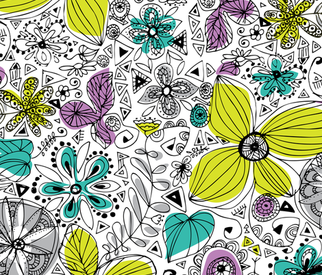Doddle flowers fabric by rachelee_design on Spoonflower - custom fabric