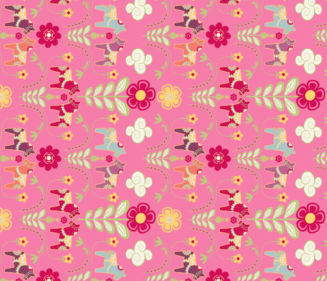 dala_horse_pastel_rose M_cheche fabric by nadja_petremand on Spoonflower - custom fabric