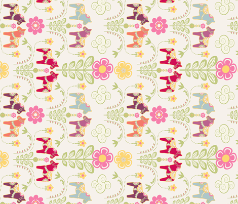 dala_horse_pastel_rose ecru_M_cheche fabric by nadja_petremand on Spoonflower - custom fabric