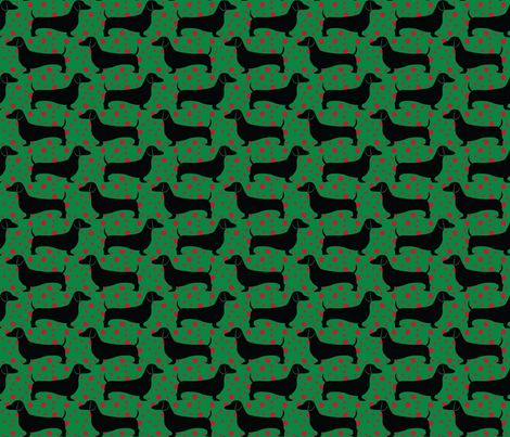 Polka Dachshunds (Christmas Green) fabric by robyriker on Spoonflower - custom fabric