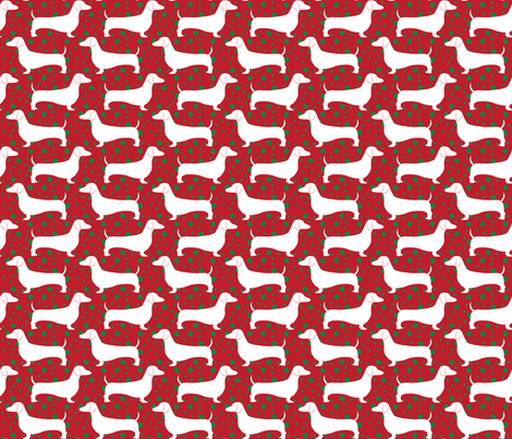Polka Dachshunds (Christmas Red) fabric by robyriker on Spoonflower - custom fabric