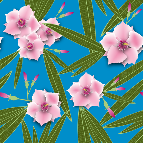Pink Oleander fabric by vannina on Spoonflower - custom fabric