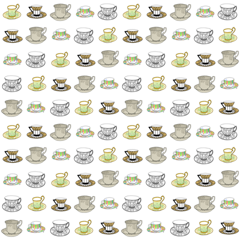 Teacups - earthtones fabric by artytypes on Spoonflower - custom fabric