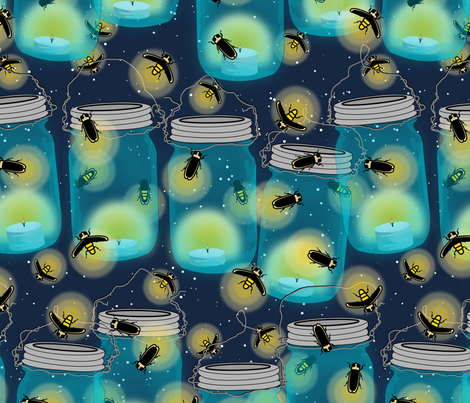Fireflies of the Mason fabric by thirdhalfstudios on Spoonflower - custom fabric