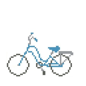 Beautiful Blue Cross Stitch Bicycle