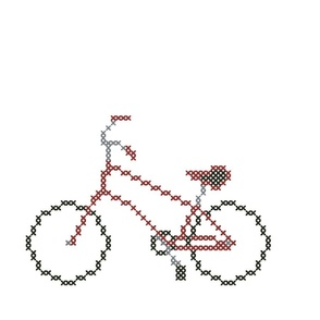 Racing Red Cross Stitch Bicycle