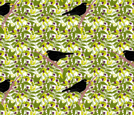 Myrtle and Blackbirds fabric by vannina on Spoonflower - custom fabric
