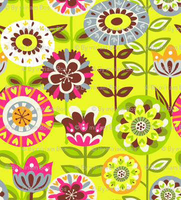 Retro summer flowers