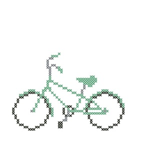 Great Green Cross Stitch Bicycle