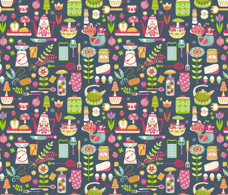 Retro kitchen in blue fabric by irrimiri on Spoonflower - custom fabric