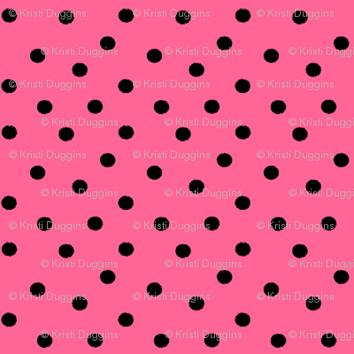 Bubblegum Pink Black Dots
