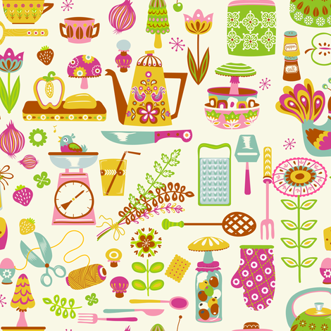 retro kitchen in creme fabric by irrimiri on Spoonflower - custom fabric