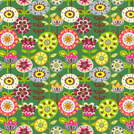 Retro summer flowers - green fabric by irrimiri on Spoonflower - custom fabric