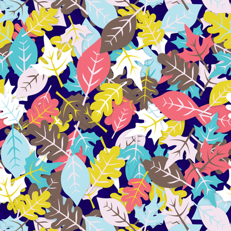 autumn leaves in blue fabric by irrimiri on Spoonflower - custom fabric