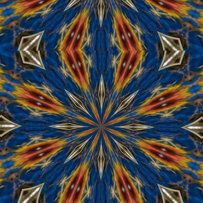 Kaleidescope 0225 k2 sea blue background brown