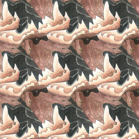 Color Pencil Moose Tessellation fabric by pond_ripple on Spoonflower - custom fabric