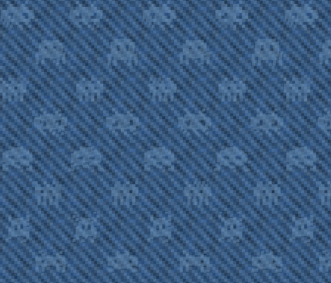 XXL alien invasion on pixelated denim