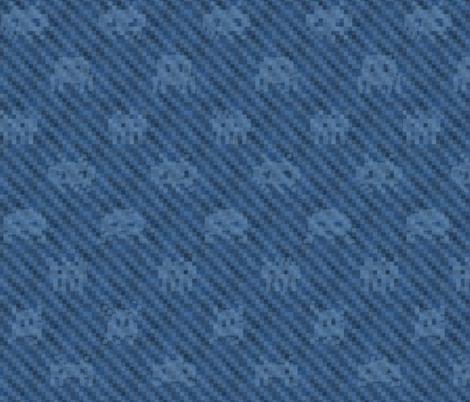 XXL alien invasion on pixelated denim fabric by weavingmajor on Spoonflower - custom fabric