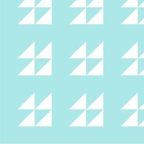 Triangles white aquamarine