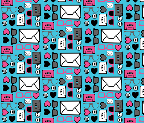 Letters, Glasses and Cassettes - pink and blue fabric by artytypes on Spoonflower - custom fabric