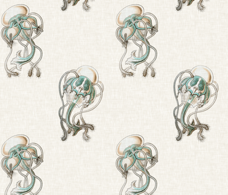 Aquamarine Jellyfish in Aquamarine and Linen fabric by sparrowsong on Spoonflower - custom fabric