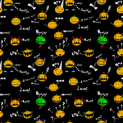 Ditsy Halloween Pumpkins fabric by amy_g on Spoonflower - custom fabric