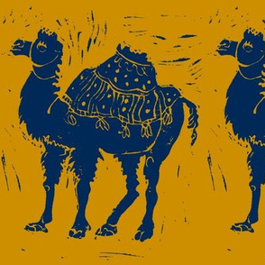 Dark Blue Camel on golden brown
