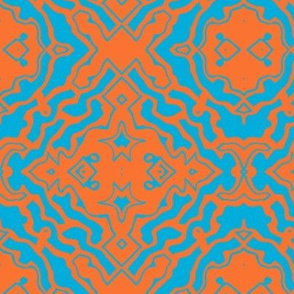 Ikat orange and aqua-ch