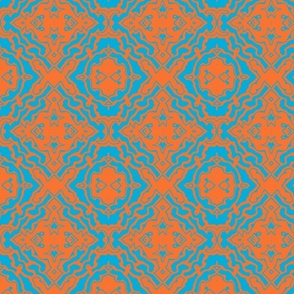 Ikat orange and aqua-ch-ed