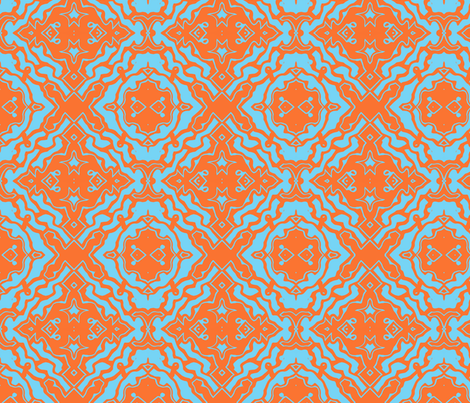 Ikat orange and aqua-ed-ed  fabric by melissamarie on Spoonflower - custom fabric