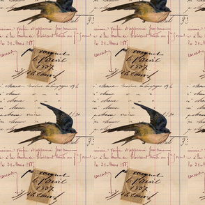 Vintage Bird and Ledger Paper