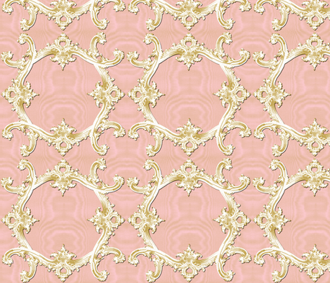 The Rococo Swag ~ Ballet Pink Moire and Gilt fabric by peacoquettedesigns on Spoonflower - custom fabric
