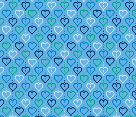 Heart Chain - Rain fabric by siya on Spoonflower - custom fabric