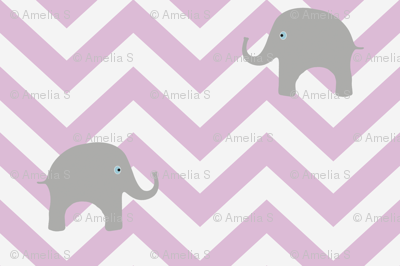 Baby Elephants on Pink Lilac Chevron