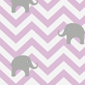 Baby Elephants on Lilac Chevron