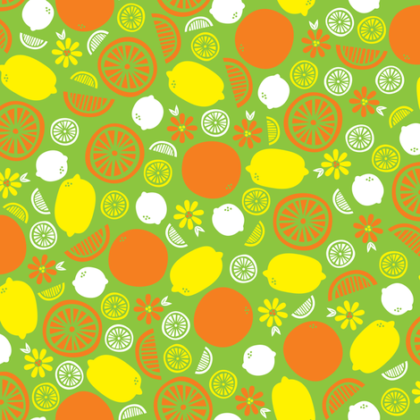 A Splash of Citrus (Green) fabric by robyriker on Spoonflower - custom fabric