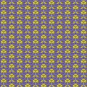 Lotus - purple, gold, green and blue - SMALL PATTERN