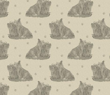 Sitting Silky terriers stamp - tan