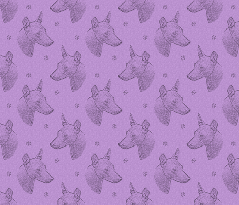 xoloitzcuintli face stamp - purple