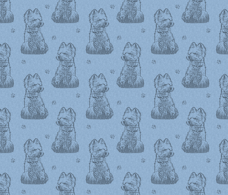 Sitting Westie stamp - blue
