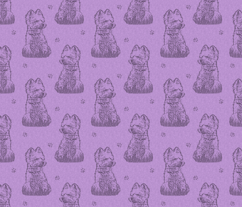 Sitting Westie stamp - purple